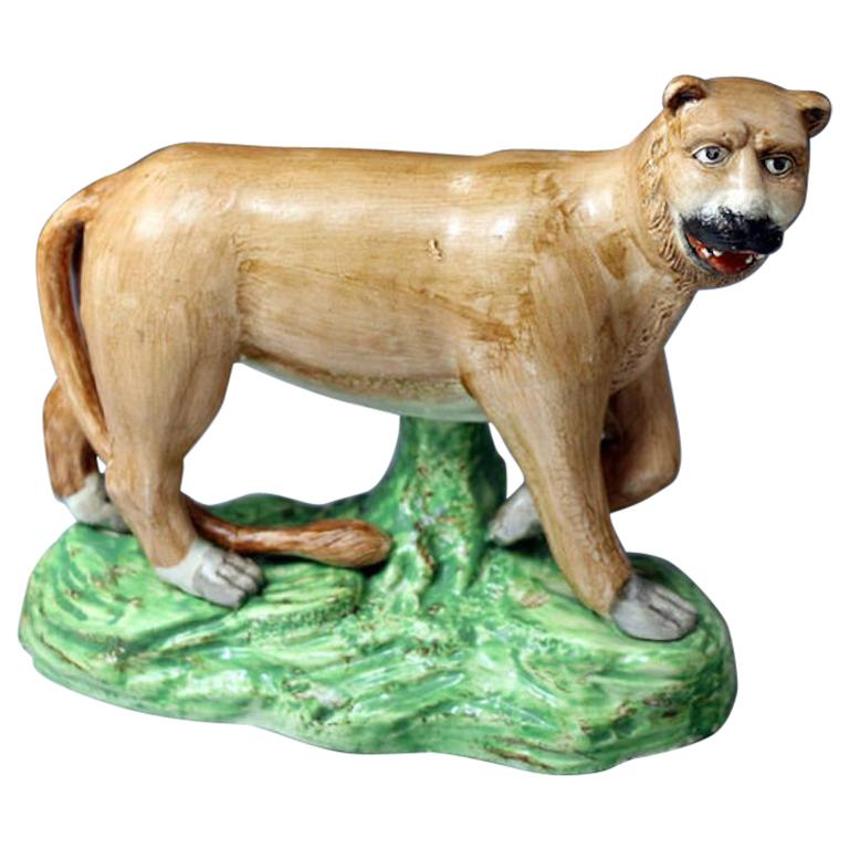 Antique Staffordshire Figure of a Standing Lioness by Dale & Co For Sale