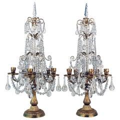 Paar französische Louis XVI Stil vergoldete Bronze und Kristall fünf-Licht Girandoles