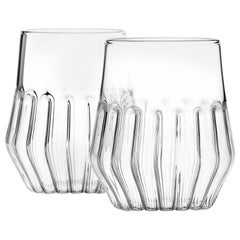 EU Clients Pair of Czech Contemporary Mixed Medium Water Wine Glasses, in Stock