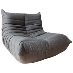 Togo Longue Chair in Grey Microfibre by Michel Ducaroy, Ligne Roset