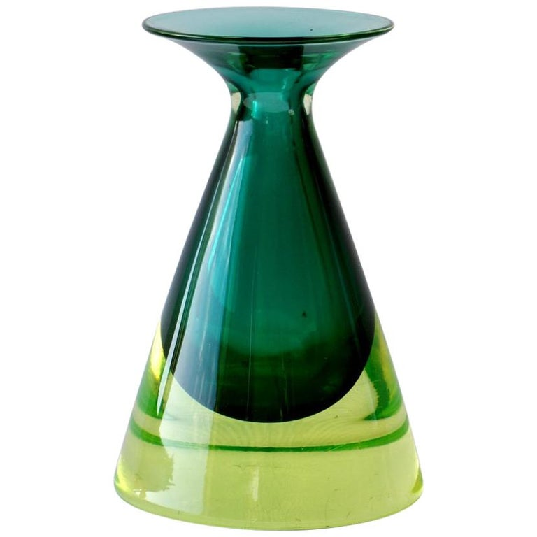 "1950s by Flavio Poli Seguso ""Sommerso"" Green Murano Glass ItalianMidcentury Vase For Sale"