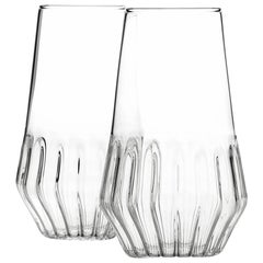 Pair of Czech Clear Contemporary Mixed Flute Champagne Glasses, in Stock EU