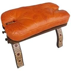 Handmade Moroccan Camel Seat, Orange Cushion