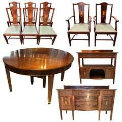 Edwardian Dining Suite/ Set, 8 Chairs, 2 Sideboards, Extendable Dining Table