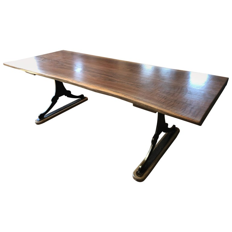 Modern Walnut Trestle Table For Sale