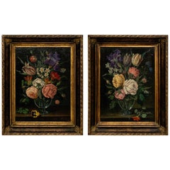 Pair of 18th Century Dutch Floral Still Life Paintings on Canvas, Later Frames