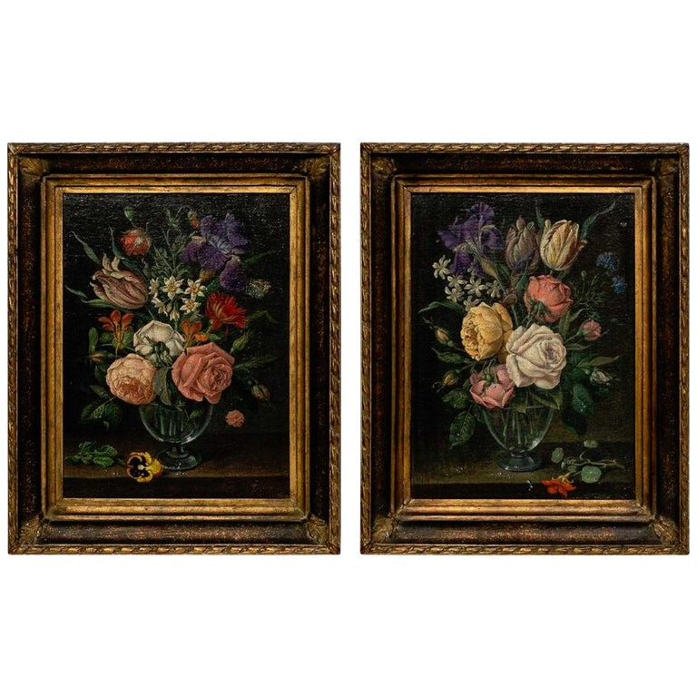 Pair of 18th Century Dutch Floral Still Life Paintings on Canvas, Later Frames For Sale
