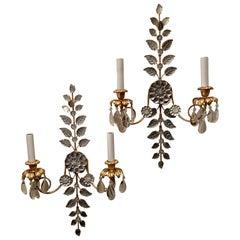 Wunderbares Set 4 2 Paar Vintage Bagues Blume Blatt Kristalltropfen zwei Licht Wandlampen