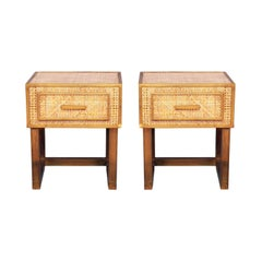 Gabriella Crespi for Dior Home Bedside Tables in Brass, Lucite and Rattan Cane