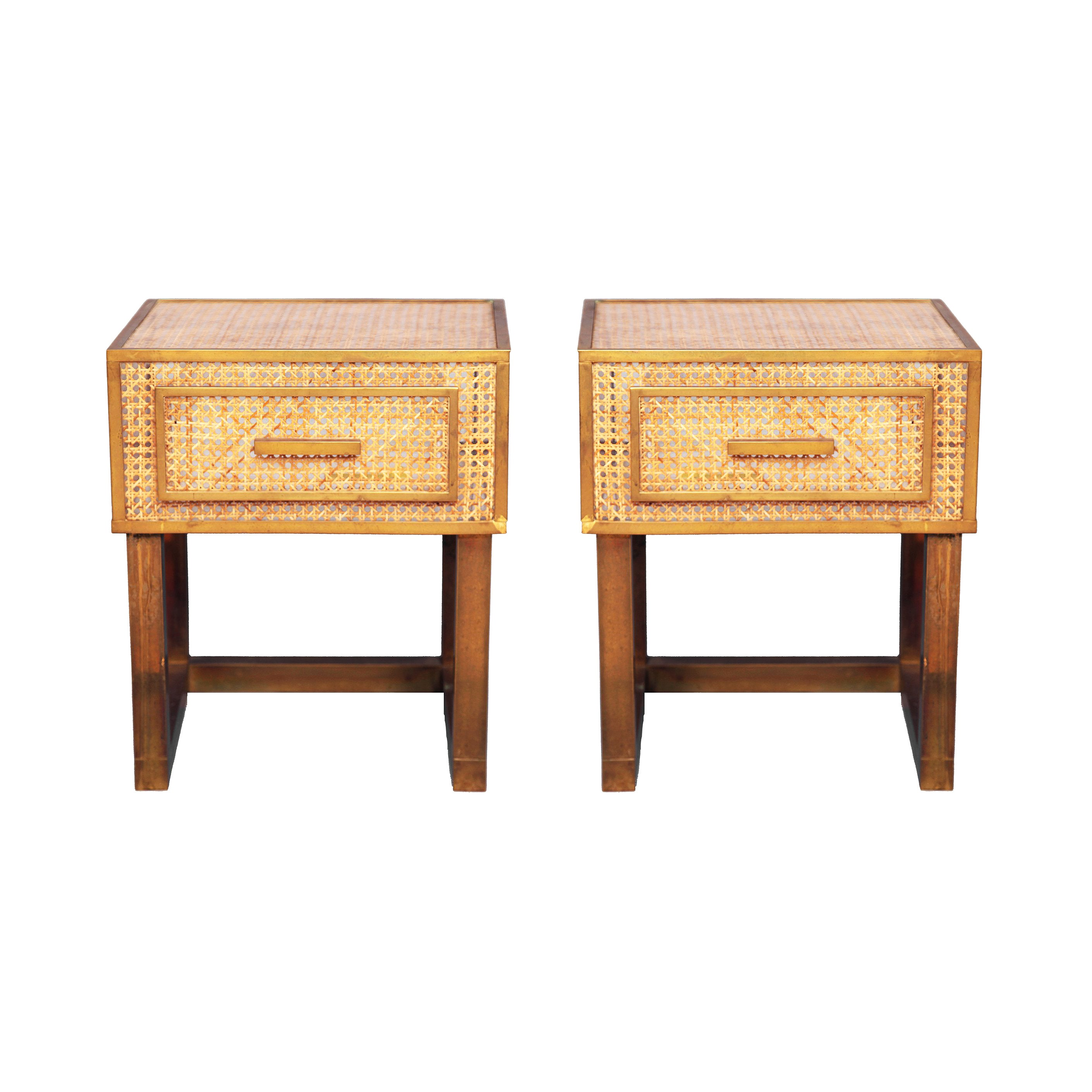 e2f657518e Dior Home Bedside Tables in Brass, Lucite, Rattan at 1stdibs