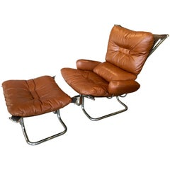 Chrome and Leather Lounge Chair and Ottoman by Ingmar Relling, 1970, Norway