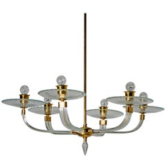 Midcentury Brass and Murano Glass Italian Chandelier, 1940s