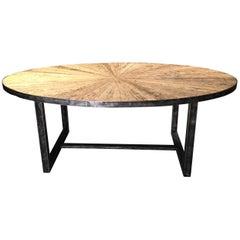 Reclaimed Oak and Steel Starburst Oval Table