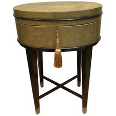 Oval Shagreen Side Table, Attributed to R & Y Augousti, Made in France