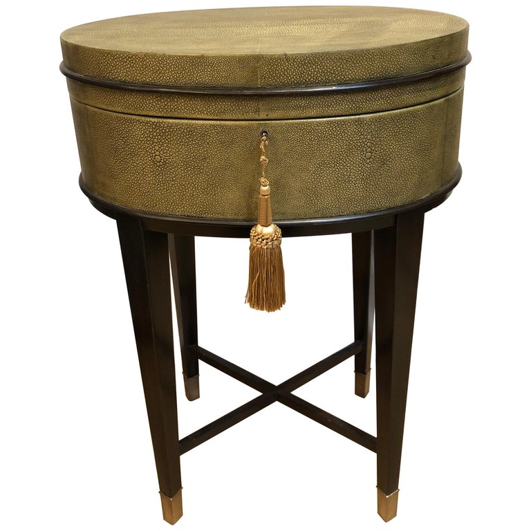 Oval Shagreen Side Table, Attributed to R & Y Augousti, Made in France  For Sale