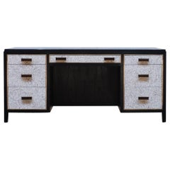 Coquille D'oeuf Abuelo Desk 7-Drawer Ebonized Ash and Brass Detailing