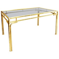Brass Faux Bamboo Dining Table