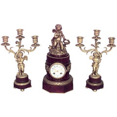 French Louis XVI Style Clock Set with Pair of Candelabra