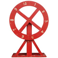 Vintage Red Wooden Folk Art Fairground Spinner Wheel