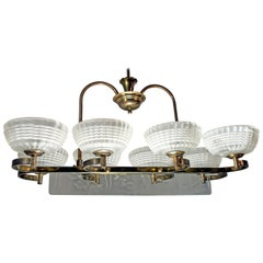 Ercole Barovier Midcentury Brass and Murano Glass Italian Chandelier, 1940s