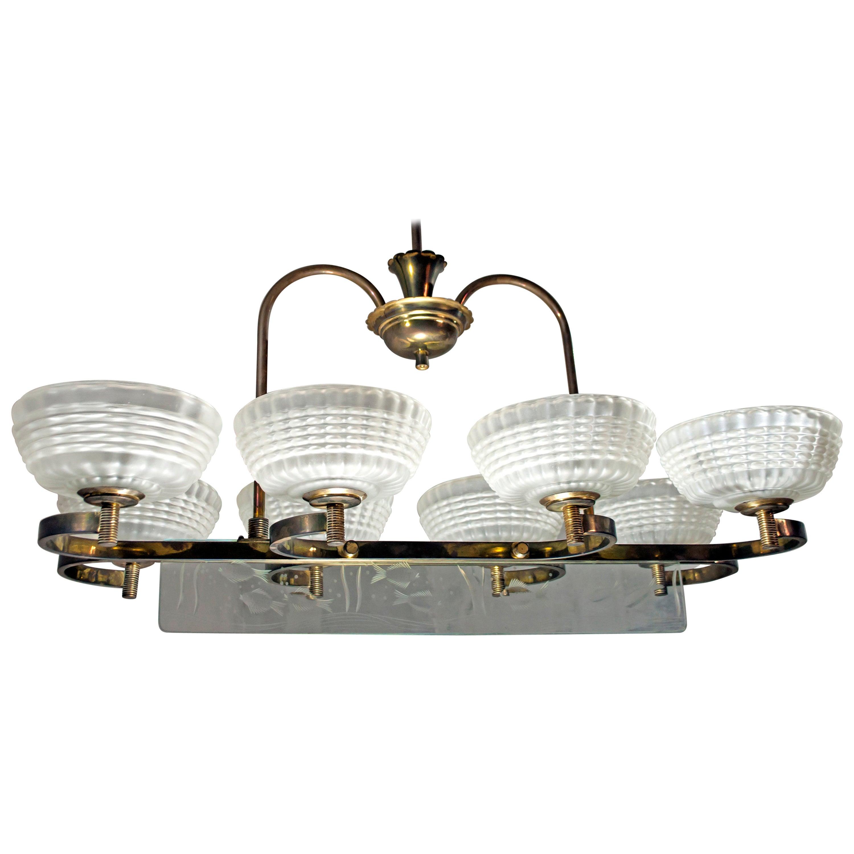 Midcentury Brass and Murano Glass Italian Chandelier, 1940s