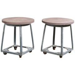 Pair of Zinc Garden Tables, America, 20th Century