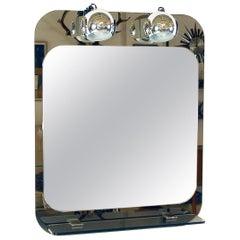 1970s Modernist Italian Illuminated Boudoir Dressing Mirror by Veca