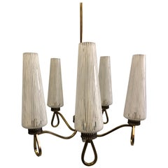 Italian Midcentury Murano Chandelier with Venetian Glass by Venini