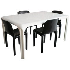 Vico Magistretti Selene White Rectangular Dining Table and Four Chairs Set