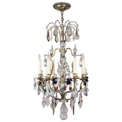 Elegant Eight-Light French Bronze Cage Chandelier
