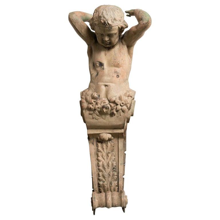 Zinc Architectural Figure, France, 19th Century For Sale