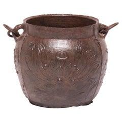 19th Century Chinese Lotus Cast Iron Apothecary Jar