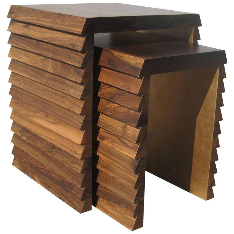 Contemporary Modern Nesting Tables in Argentine Rosewood by Costantini, Dorena