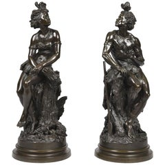 Pair of 19th Century French Figurative Bronzes by Eugène Piat