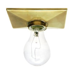 Metal Wall or Ceiling Sconce - Vica Escutcheon, Burnished Brass finish