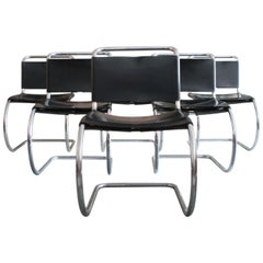 Set of Six Mies Van Der Rohe for Knoll MR10 Dining Chairs