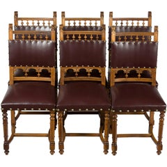 Set of Six Carved Walnut French Art Nouveau Leather Dining Room Kitchen Chairs