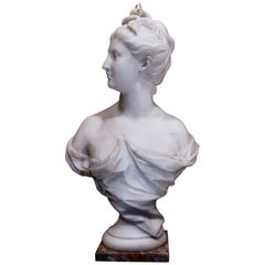 19th Century French Carrara White Marble Bust, Diana Goddess of the Hunt