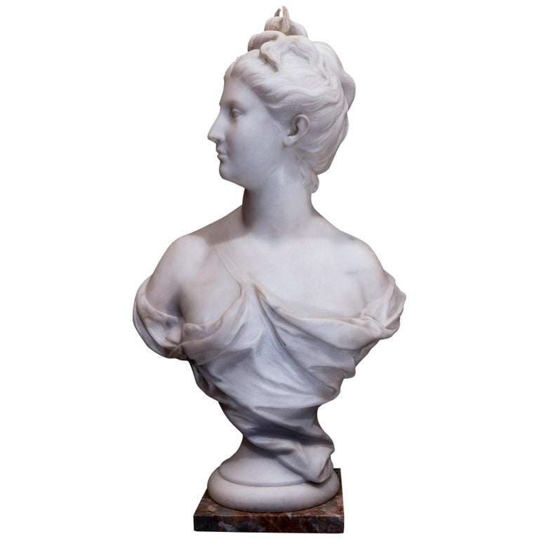 19th Century French Carrara White Marble Bust, Diana Goddess of the Hunt For Sale