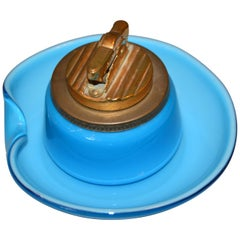Murano Blue and Brass Lighter with Italian Art Glass Ashtray