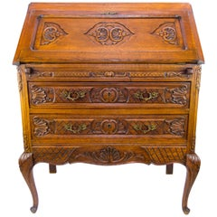 Louis XV Style Carved Oak Drop Front Two Drawers Secretary Bureau, 1920s