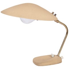 Stilnovo Style Beige Texture Paint Desk Lamp with Saucer Shade, circa 1950s