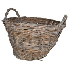 Vintage Basket with Handles from Hungary, circa 1940s