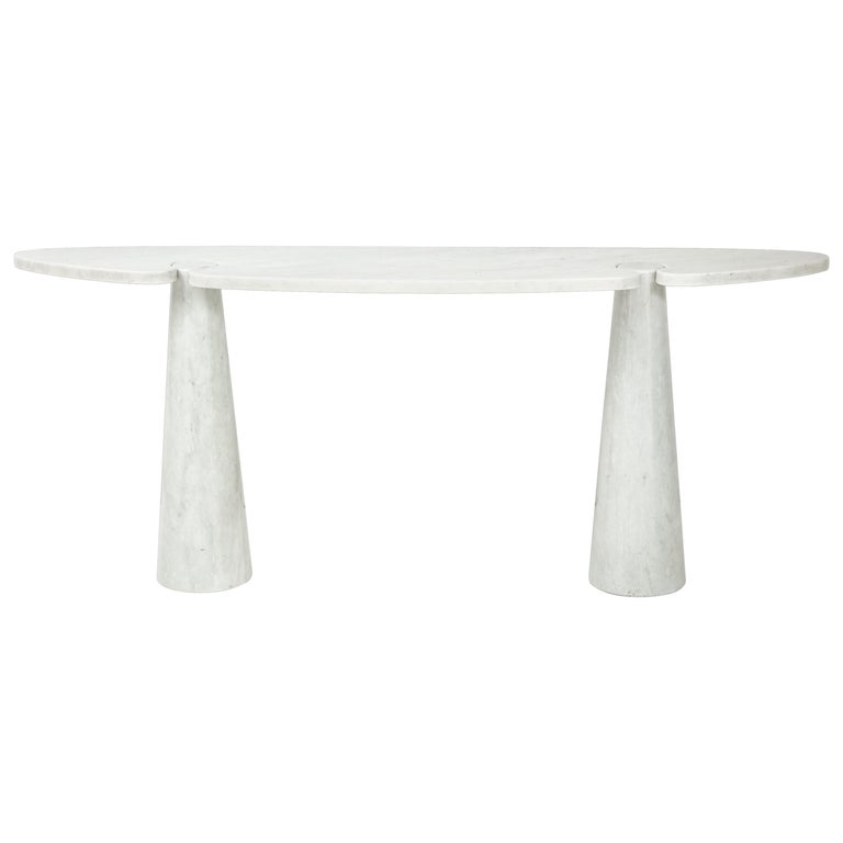 Angelo Mangiarotti for Skipper Carrara Marble Console For Sale