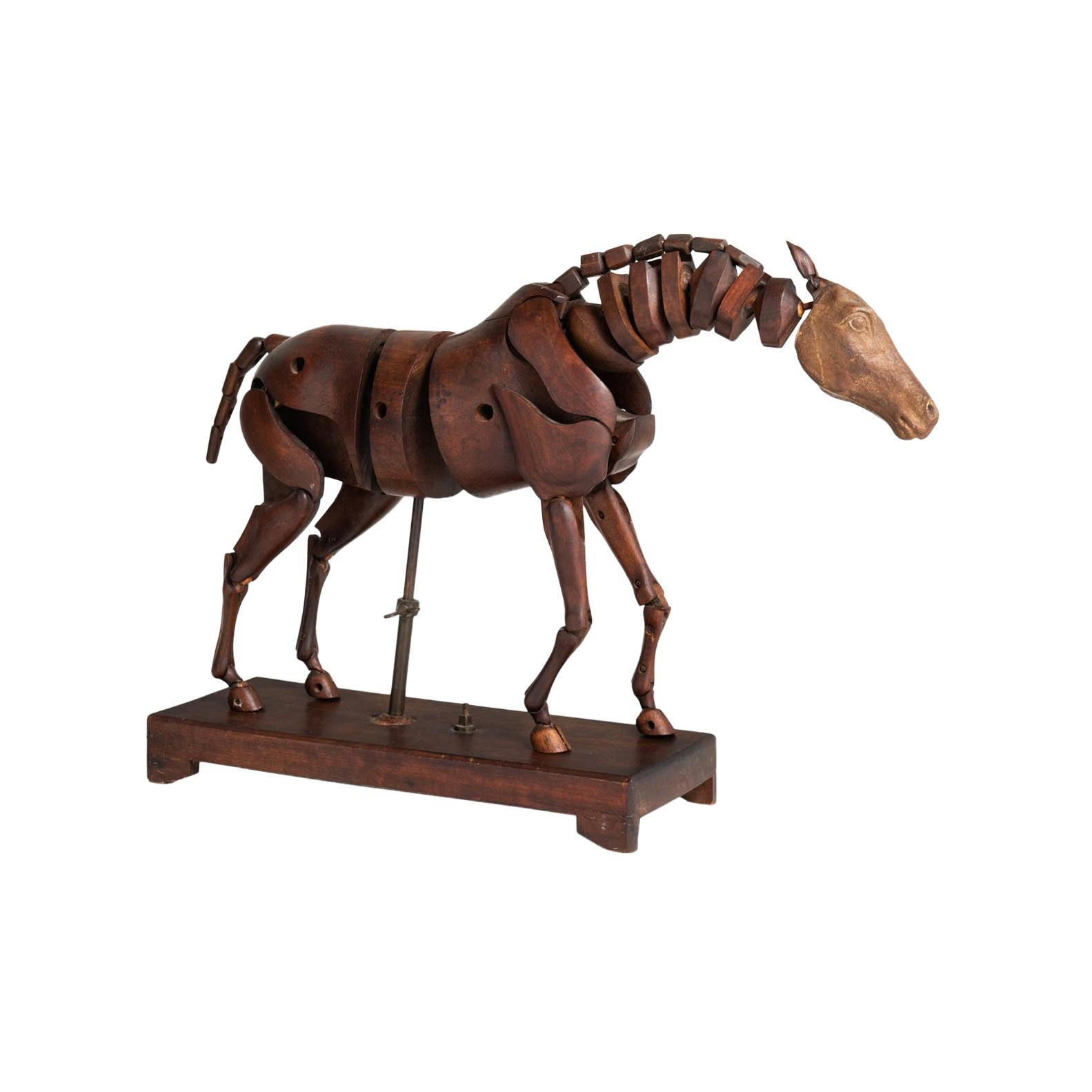 Articulated Wooden Horse Artist's Model by C. Barbe, England, circa 1830