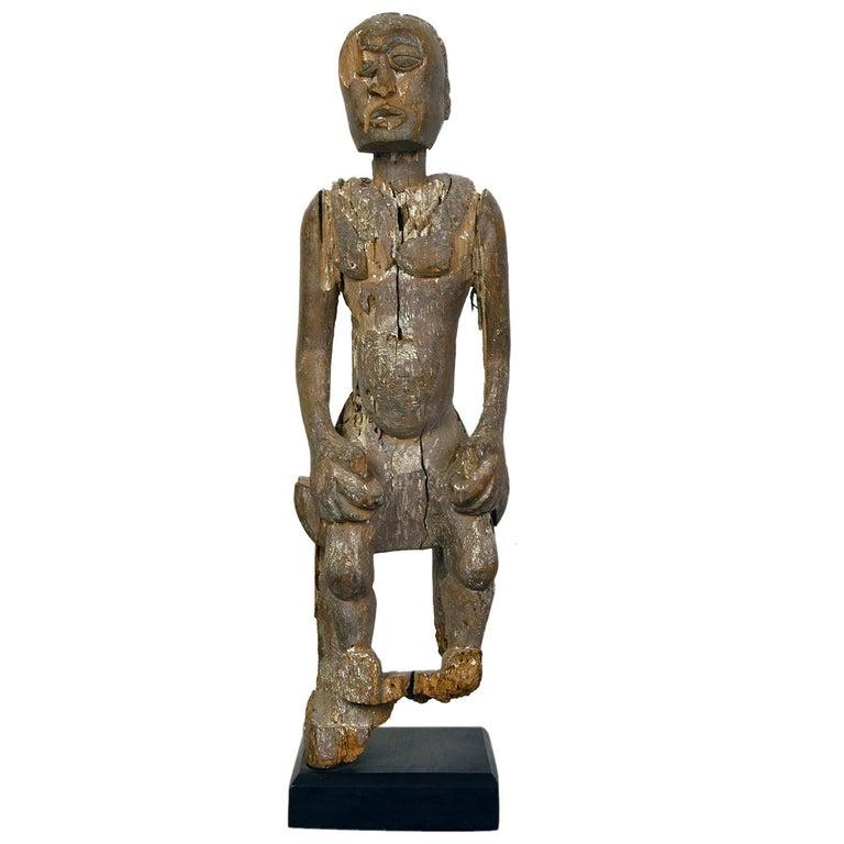 Antique Carved Wood Folk Art Decorative Sculpture Statue Man on Ebonised Plinth For Sale