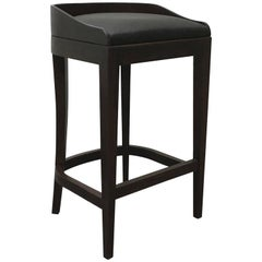 Contemporary Pia Stool in Argentine Rosewood and Black Leather from Costantini