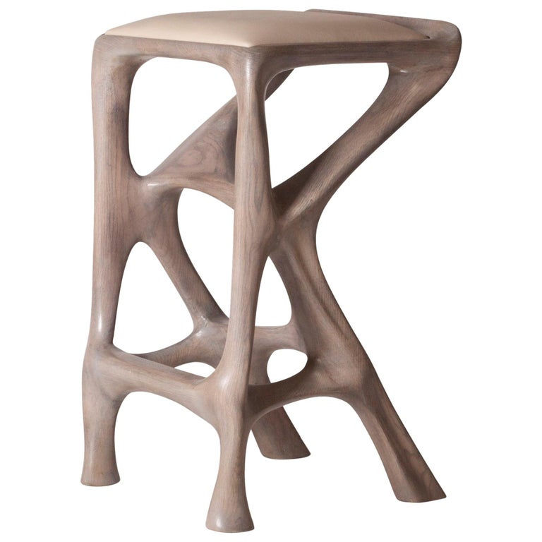 Amorph Chimera Bar Stool, Stained Gray Oak, Counter Height For Sale