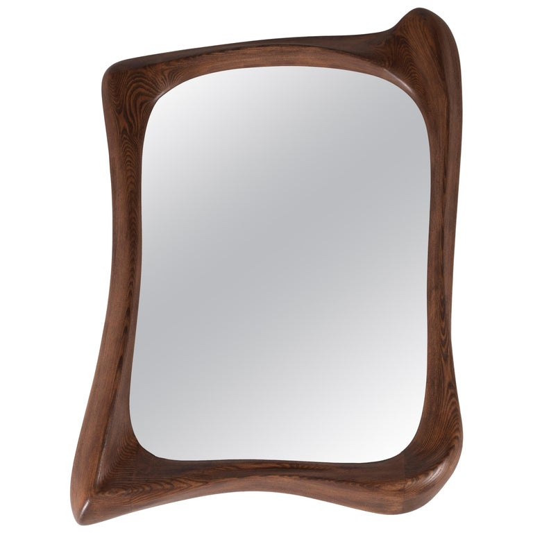 Amorph Narcissus Mirror, Stained Graphite Walnut  For Sale