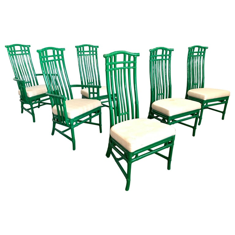 Set of Six Bamboo Pagoda Dining Chairs by McGuire For Sale